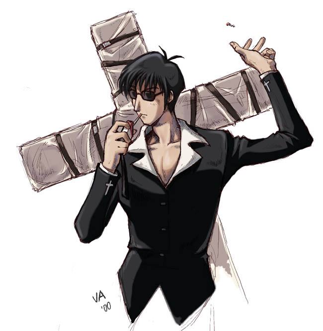 Nicholas D. Wolfwood throwin' a match away